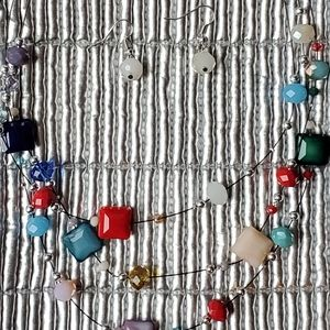 Betsey Johnson colorful necklace and earri…